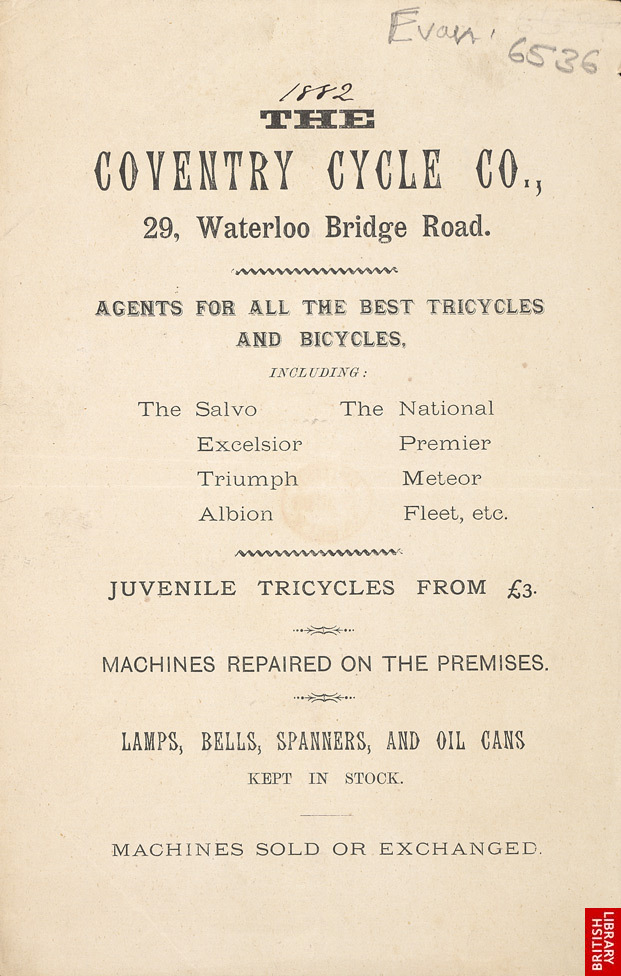 Advert for the Coventry Cycle Company
